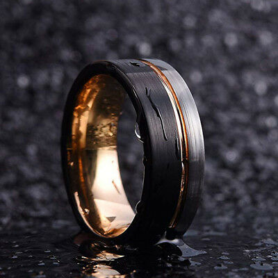 Engagement Loop Tungsten Carbide Ring 8mm Men's Wedding Band Rose Gold Striped