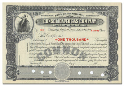 Consolidated Gas Company of Pittsburgh Stock Certificate