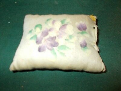 Late 1800S Victorian Silk Therom Decorated Pincushion With Flowers Hair Stuffed