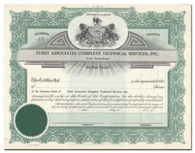 Furst Associates Complete Technical Services, Inc. Stock Certificate (York, PA)