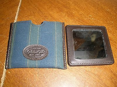 "Longaberger handbag mirror in case 3"" X 3"" green & blue stripes"