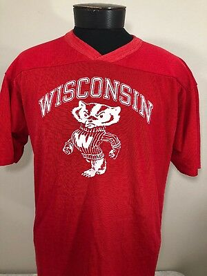VTG CHAMPION Wisconsin Badgers Nylon Cotton T Shirt Made USA Jersey 70s 80s