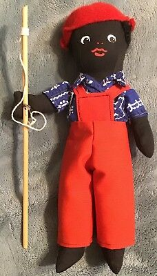 "Vtg Eleanor Todd New Orleans Black Cloth 10"" Fishing Boy African American"