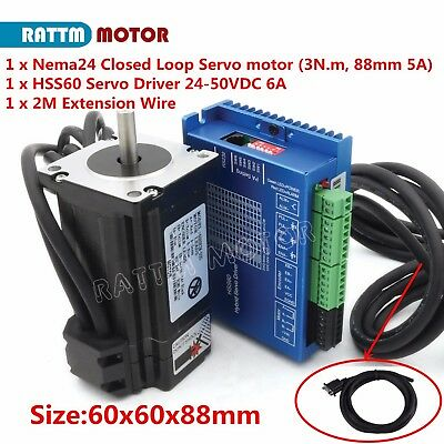 Nema24 3N.m 88mm CNC Closed Loop Stepper Servo Motor & 2-phase 50V Hybrid Driver
