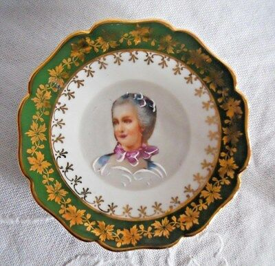 Limoges France Porcelain Miniature Green Plate. Depicting  Madame De Pompadour?