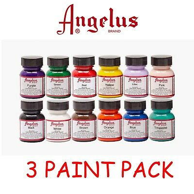 3 x Angelus Acrylic Leather Paints 29.5ml , ( x3 Paints ) FREE POST AUST WIDE