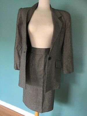 CHRISTIAN DIOR The Suit black And white woven Wool 2 Pc Skirt And Blazer Sz 4