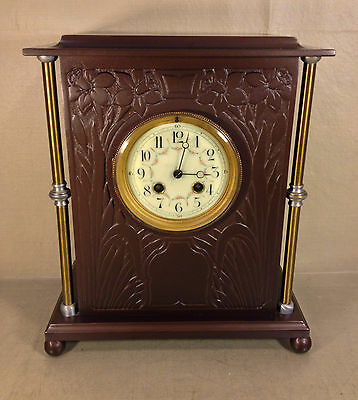 Antique Vincenti French Mantel Clock Porcelain Face Bronze Case Runs & Strikes