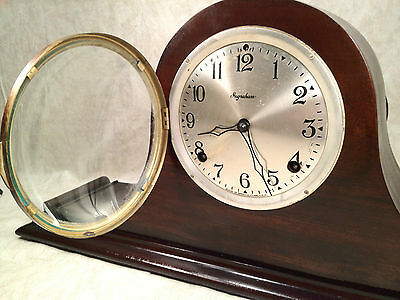 Antique Ingraham Mantel Clock Mahogany Case Runs and Strikes