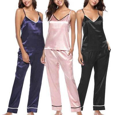 Womens Silk Satin Pajamas Set Pyjama Sleeveless Tops+Pants Sleepwear Nightwear