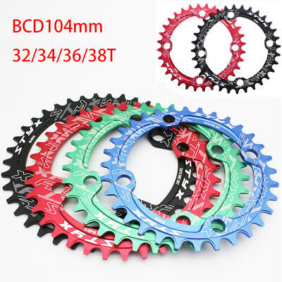 BCD104mm MTB Moutian Bike Chainring Single Speed Narrow Wide Chainring 32T-38T