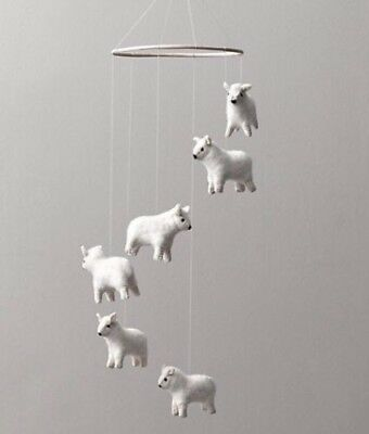 Restoration Hardware Wool Felt Sheep Mobile Baby & Child Shower Gift NEW IN BOX!