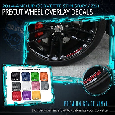 Wheel Insert Decals 2014+ C7 Chevy Corvette Stingray Z51 - Matte Carbon Fiber