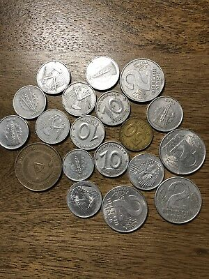 Lot of 19 East Germany 5, 10, 50 Pfennig and 1,2 Marks. 1948-1969 Great Lot!
