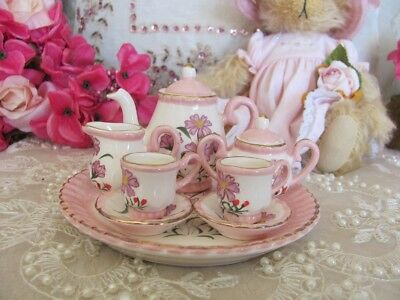 Miniature Vintage Look Ceramic Daisy Tea Set ~ Collectable ~ Gift ~ Country