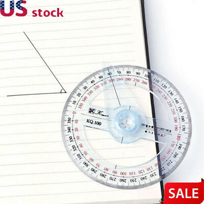 Plastic 360 Degree Protractor Ruler Angle Finder Swing Arm Office Angle Ruler US