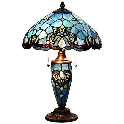 Tiffany Style Table Lamp 14 Inch Lampshade Victorian Double Lit Desk Lamp Glass