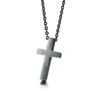 Ancient Silver Cross Pendant Women Men Necklace Chain Religious Stainless Steel