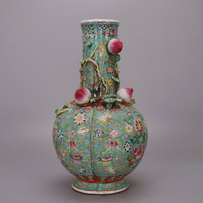 Chinese archaize antique hand make Pastel Five peach vase