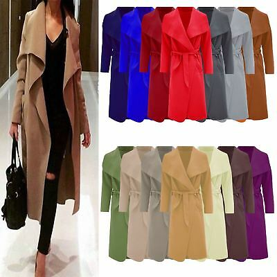 Womens Waterfall Belted Italian Drape Long Trench Coat Ladies Blazer Jacket 8-22