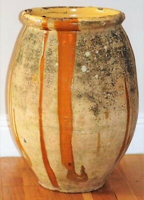 ANTIQUE FRENCH BIOT POT OLIVE JAR - LARGE - 19th CENTURY - BEAUTIFUL PATINA