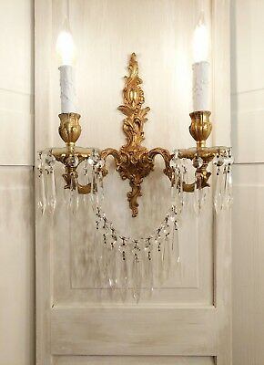 Antique SCONCE French Wall Chandelier Light Lamp Vintage Gold Gilt Shabby Chic