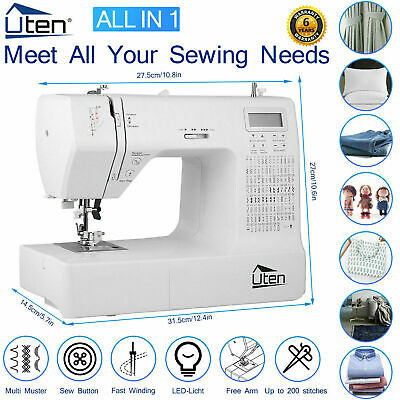 Electric Pro Sewing Machine Overlock 200 Stitches Automatic Threading Free Arm
