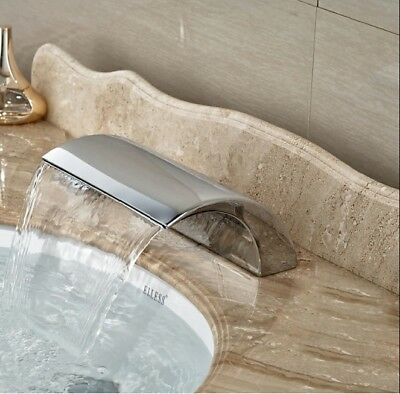 Chrome Finish Big Waterfall Deck Mount Bath Tub Faucet Spout Tap Free shipping