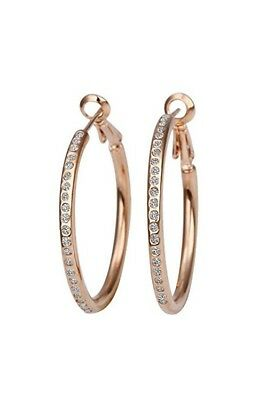 New Stunning Gold Plated Fashion Big Hoop Earings with Crystal (Rose Gold) Z1M2