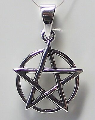 PENTAGRAM & CIRCLE PENDANT 925 Sterling SILVER 28mm Drop : Pentacle