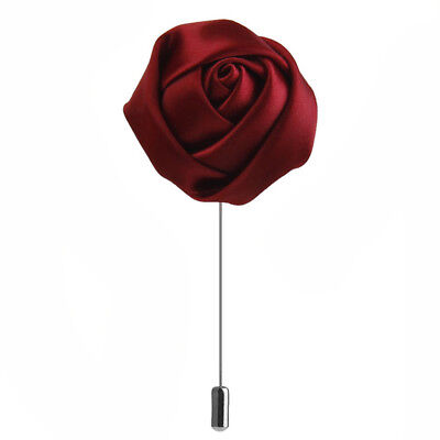 Brooch Pin Rose flower Button Polyester for man - Red M9U8