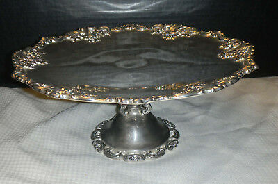 Wallace Silver Plate Footed Cake  Serving Tray  Baroque Pattern