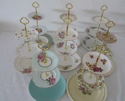 3 Tier Large Vintage CAKE STANDS English Fine China High Tea Cup Cakes Wedding O