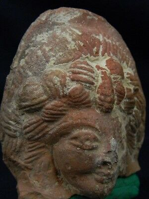 Ancient Teracotta Head Bactrian C.300 BC #TR8200
