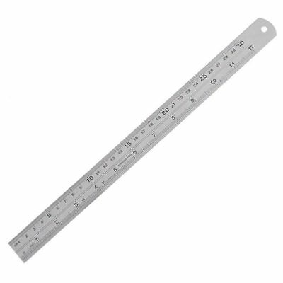 12 inch Double Sided Metal Steel Measuring Ruler Scale Office Supply O5E7