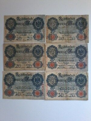 Reichsbanknoten - 6 x 20 Mark 1906,07,08,09,10,14.