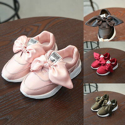 UK Baby Kids Girls Trainers Satin Bowknot Slip-On Running Shoes Gym Sports Pumps