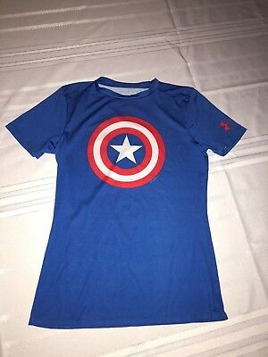 Under Armour Boys Marvel Captain America Fitted Short Sleeve Shirt YLG Y Large