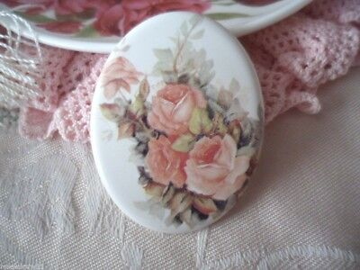 Vintage Jewellery ceramic porcelain large oval brooch pin Antique Roses Jewelry