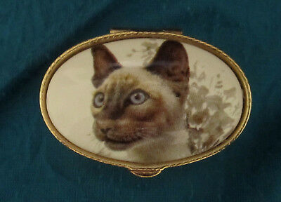 """Siamese Cat hinged trinket box oval 2""""x3/4"""" gold plated etched pill box"""