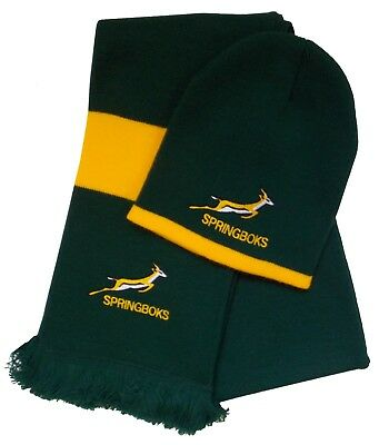 South Africa Springbok Rugby Beanie Hat and Scarf