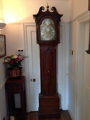 Valentine Downs Louth Georgian Brass Faced Longcase Grandfather Clock