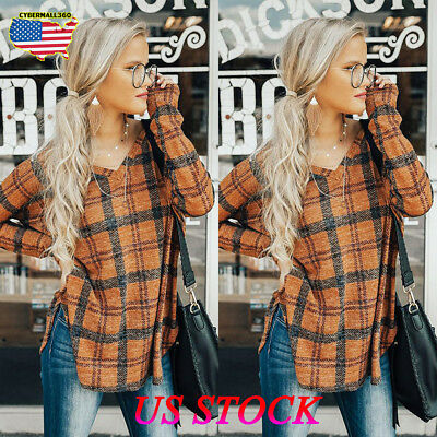 Womens Plaid Tunic Tops Long Sleeve Casual Loose Blouse Fashion Shirt T-Shirt