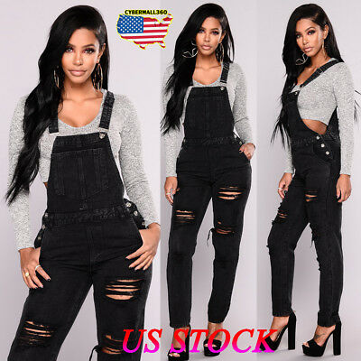US Women Slim Denim Jeans Ripped Pants Overalls Straps Jumpsuit Rompers Trousers