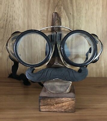 Vtg Industrial Willson Round Welding Steampunk Clear Safety Motorcycle Goggles
