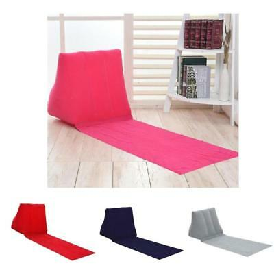 Inflatable Triangle Back Support Pillow Cushion Camping Beach Lounger Mat Seat