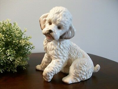 Vintage White Poodle Ceramic Porcelain Dog Puppy KPM Germany Figurine 7.5""