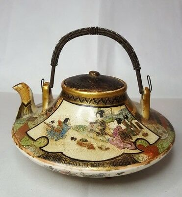 Antique Japanese Porcelain Satsuma Teapot Meiji Coiled Metal Handle Very Fine