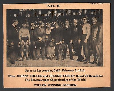 1912 Johnny Coulon & Frankie Conley 20 Round Fight Boxing Cardboard Sign 7.5x9.5