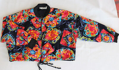 VTG 80s Bomber Jacket Quilted India Cotton Cropped Multi-Color Beaded One Size